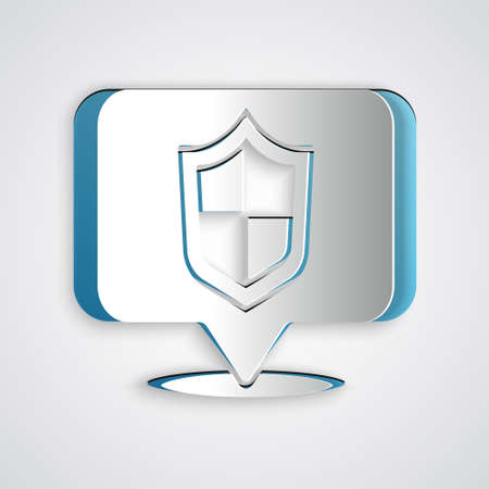 Paper cut Location shield icon isolated on grey background. Insurance concept. Guard sign. Security, safety, protection, privacy concept. Paper art style. Vector. Illusztráció