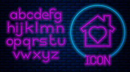 Glowing neon House with heart inside icon isolated on brick wall background. Love home symbol. Family, real estate and realty. Neon light alphabet. Vector. Ilustracja