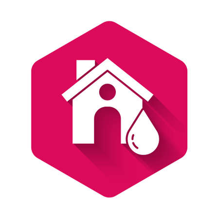 White House flood icon isolated with long shadow. Home flooding under water. Insurance concept. Security, safety, protection, protect concept..