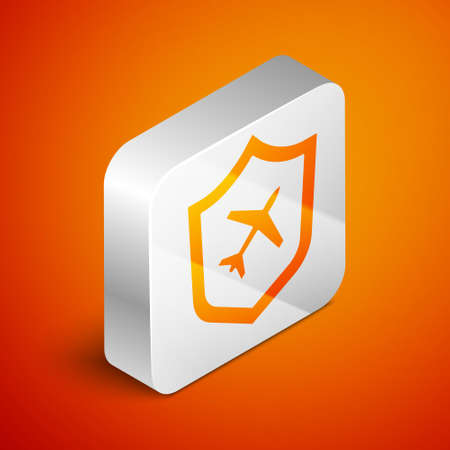 Isometric Plane with shield icon isolated on orange background. Flying airplane. Airliner insurance. Security, safety, protection, protect concept. Silver square button. Vector. Illustration