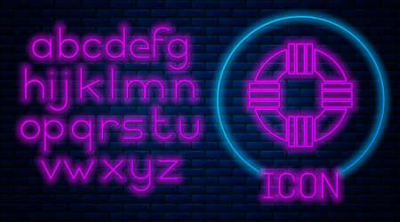 Glowing neon Lifebuoy icon isolated on brick wall background. Lifebelt symbol. Neon light alphabet. Vector.