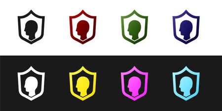 Set Life insurance with shield icon isolated on black and white background. Security, safety, protection, protect concept. Vector.
