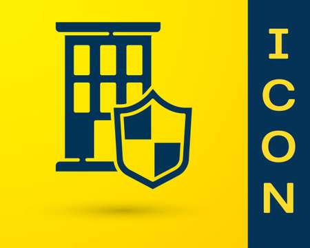 Blue House with shield icon isolated on yellow background. Insurance concept. Security, safety, protection, protect concept. Vector. Ilustracja