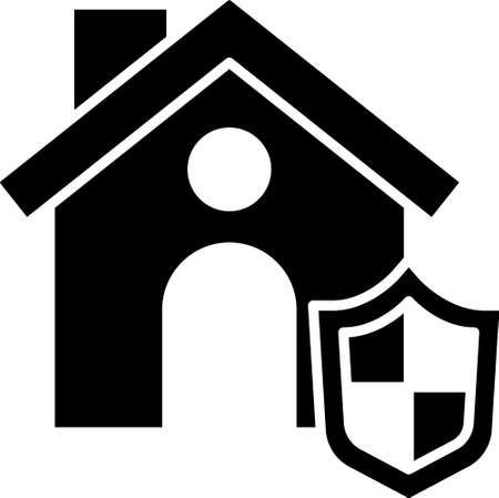 Black House with shield icon isolated on white background. Insurance concept. Security, safety, protection, protect concept. Vector.
