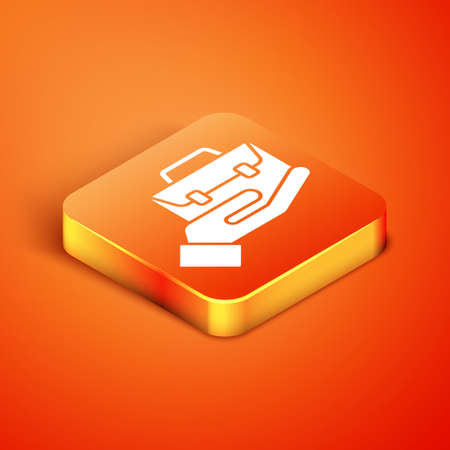 Isometric Hand holding briefcase icon isolated on orange background. Insurance concept. Security, safety, protection, protect concept. Vector.