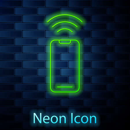 Glowing neon line Wireless smartphone icon isolated on brick wall background. Vector 矢量图像