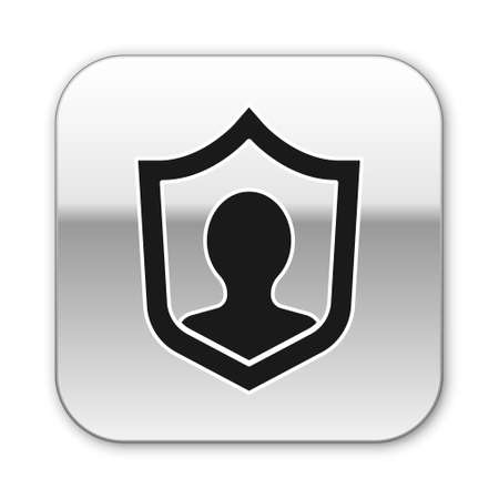 Black Life insurance with shield icon isolated on white background. Security, safety, protection, protect concept. Silver square button. Vector. Illusztráció