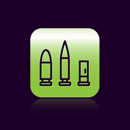 Black line Bullet and cartridge icon isolated on black background. Green square button. Vector
