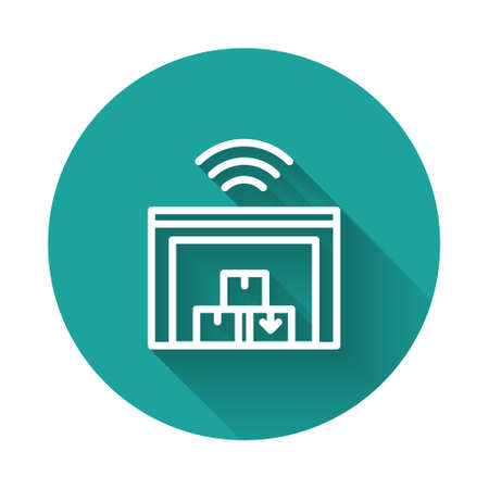 White line Smart warehouse system icon isolated with long shadow. Green circle button. Vector Ilustração