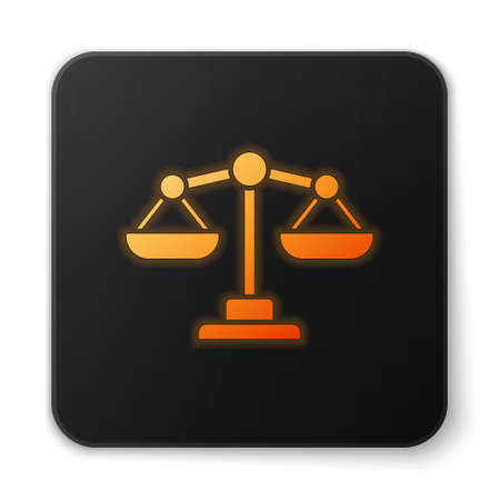Orange glowing neon Scales of justice icon isolated on white background. Court of law symbol. Balance scale sign. Black square button. Vector.