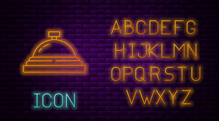 Glowing neon line Hotel service bell icon isolated on brick wall background. Reception bell. Neon light alphabet. Vector