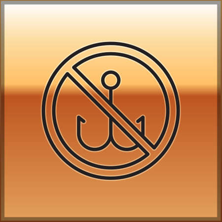 Black line No fishing icon isolated on gold background. Prohibition sign. Vector 일러스트