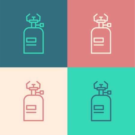 Pop art line Camping gas stove icon isolated on color background. Portable gas burner. Hiking, camping equipment. Vector 일러스트