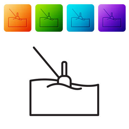 Black line Fishing float in water icon isolated on white background. Fishing tackle. Set icons in color square buttons. Vector