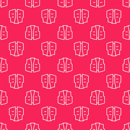White line Fishing jacket icon isolated seamless pattern on red background. Fishing vest. Vector