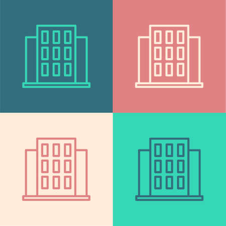 Pop art line House icon isolated on color background. Home symbol. Vector