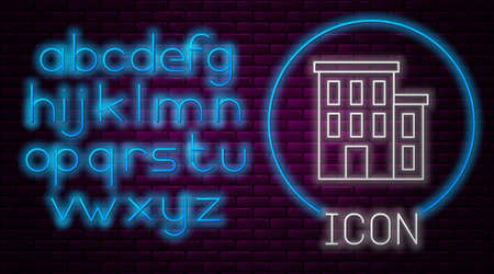 Glowing neon line House icon isolated on brick wall background. Home symbol. Neon light alphabet. Vector