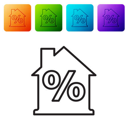 Black line House with percant discount tag icon isolated on white background. Real estate home. Credit percentage symbol. Set icons in color square buttons. Vector