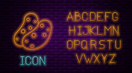Glowing neon line Potato icon isolated on brick wall background. Neon light alphabet. Vector