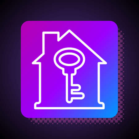 White line House with key icon isolated on black background. The concept of the house turnkey. Square color button. Vector
