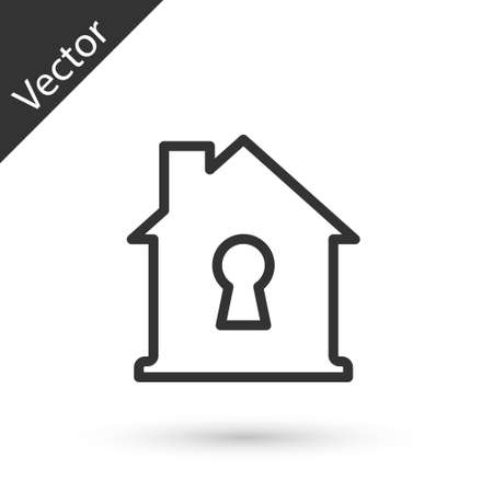 Grey line House under protection icon isolated on white background. Home and shield. Protection, safety, security, protect, defense concept. Vector