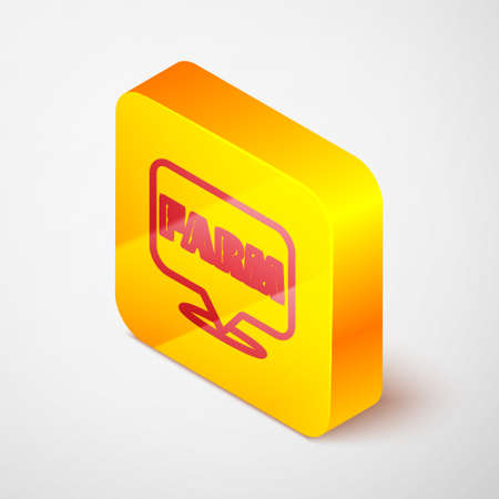 Isometric line Location farm icon isolated on grey background. Yellow square button. Vector Illustration