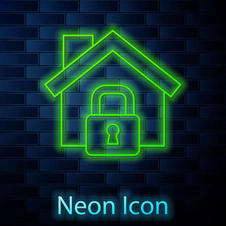 Glowing neon line House under protection icon isolated on brick wall background. Home and lock. Protection, safety, security, protect, defense concept. Vector