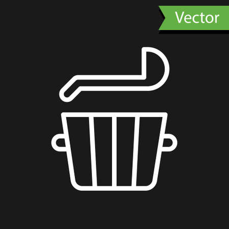 White line Sauna bucket and ladle icon isolated on black background. Vector