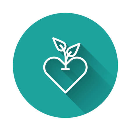 White line Heart icon isolated with long shadow. First aid. Healthcare, medical and pharmacy sign. Green circle button. Vector