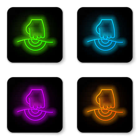 Glowing neon line Massage icon isolated on white background. Relaxing, leisure. Black square button. Vector Illusztráció