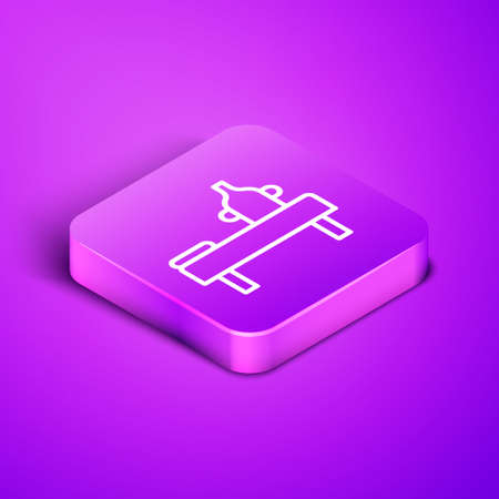 Isometric line Massage table with oil icon isolated on purple background. Purple square button. Vector