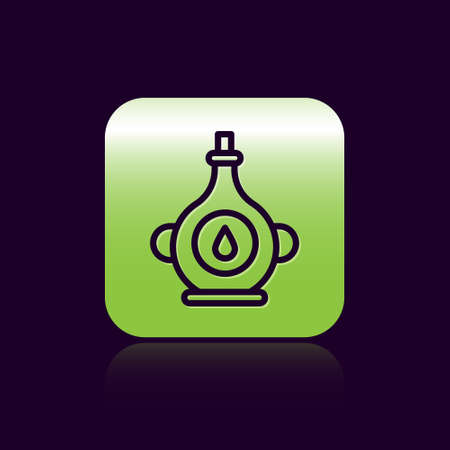Black line Oil bottle icon isolated on black background. Green square button. Vector