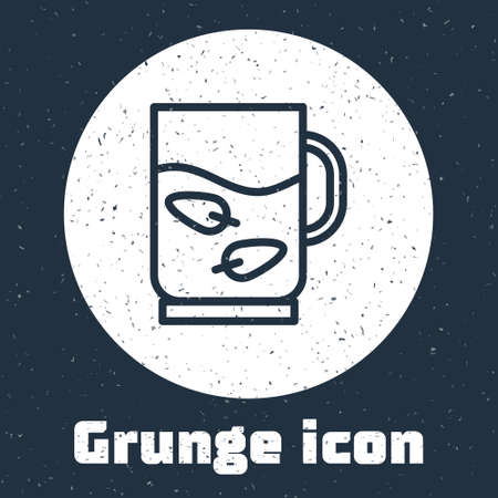 Grunge line Cup of tea and leaf icon isolated on grey background. Monochrome vintage drawing. Vector 일러스트