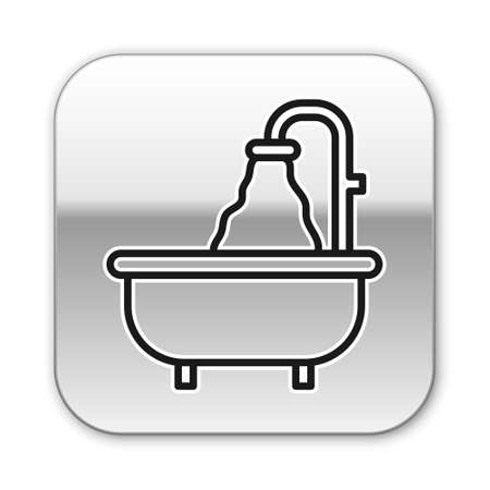 Black line Bathtub icon isolated on white background. Silver square button. Vector 矢量图像