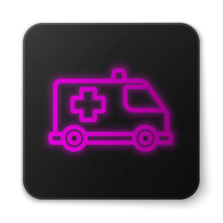 Glowing neon line Ambulance and emergency car icon isolated on white background. Ambulance vehicle medical evacuation. Black square button. Vector.