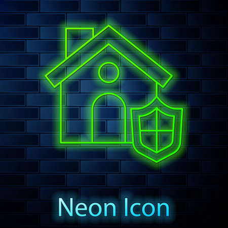 Glowing neon line House with shield icon isolated on brick wall background. Insurance concept. Security, safety, protection, protect concept. Vector.
