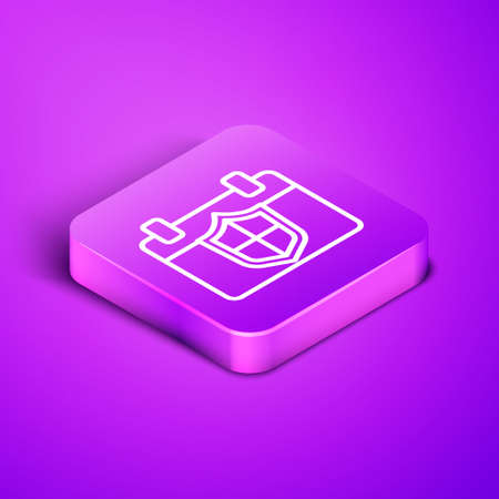 Isometric line Calendar with shield icon isolated on purple background. Insurance concept. Guard sign. Security, safety, protection, privacy concept. Purple square button. Vector.
