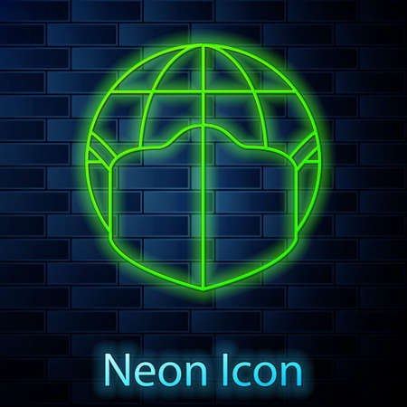 Glowing neon line Earth globe with medical mask icon isolated on brick wall background. Vector.