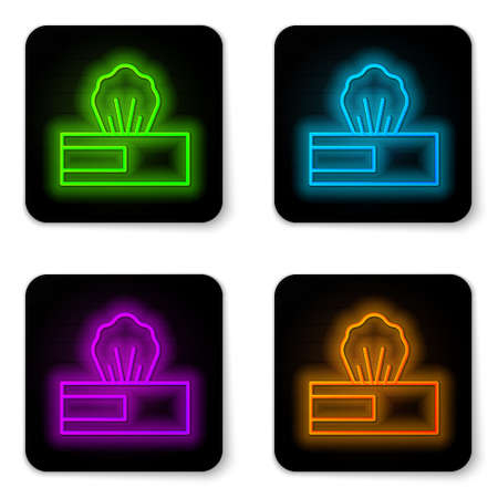 Glowing neon line Wet wipe pack icon isolated on white background. Black square button. Vector.