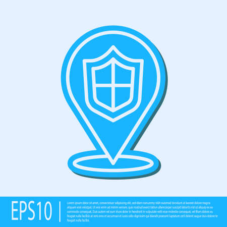 Blue line Location shield icon isolated on grey background. Insurance concept. Guard sign. Security, safety, protection, privacy concept. Vector.