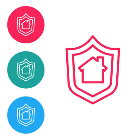 Red line House with shield icon isolated on white background. Insurance concept. Security, safety, protection, protect concept. Set icons in circle buttons. Vector.