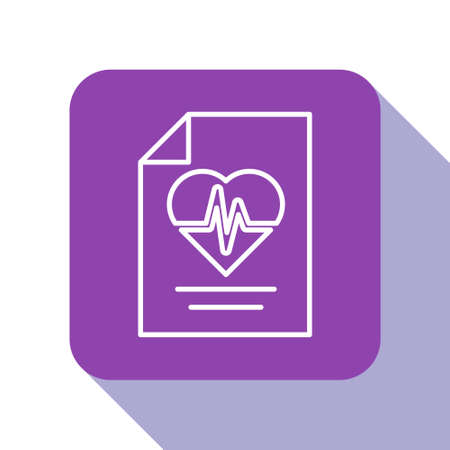 White line Health insurance icon isolated on white background. Patient protection. Security, safety, protection, protect concept. Purple square button. Vector.