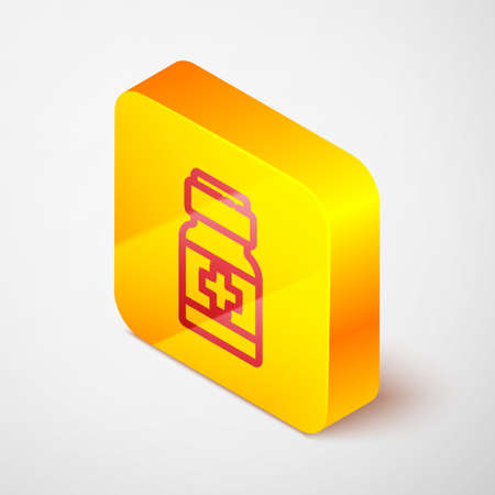Isometric line Medicine bottle and pills icon isolated on grey background. Medical drug package for tablet, vitamin, antibiotic, aspirin. Yellow square button. Vector.