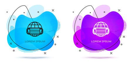 Line Earth globe with medical mask icon isolated on white background. Abstract banner with liquid shapes. Vector.