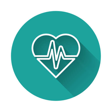 White line Health insurance icon isolated with long shadow. Patient protection. Security, safety, protection, protect concept. Green circle button. Vector.