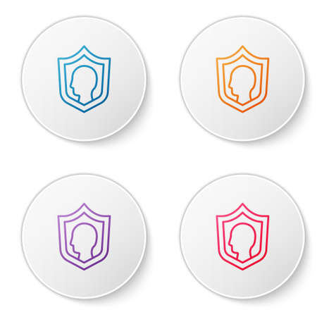 Color line Life insurance with shield icon isolated on white background. Security, safety, protection, protect concept. Set icons in circle buttons. Vector.