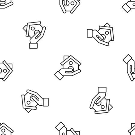 Grey line House insurance icon isolated seamless pattern on white background. Security, safety, protection, protect concept. Vector. Ilustracja