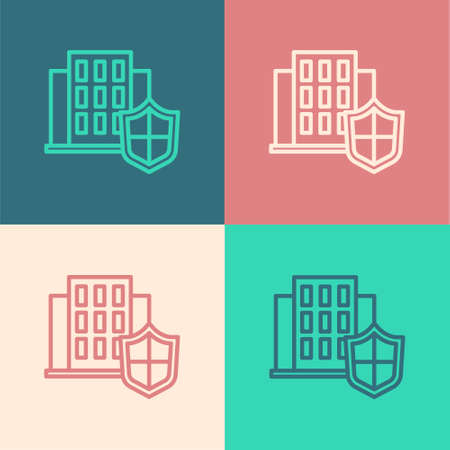 Pop art line House with shield icon isolated on color background. Insurance concept. Security, safety, protection, protect concept. Vector. Ilustracja