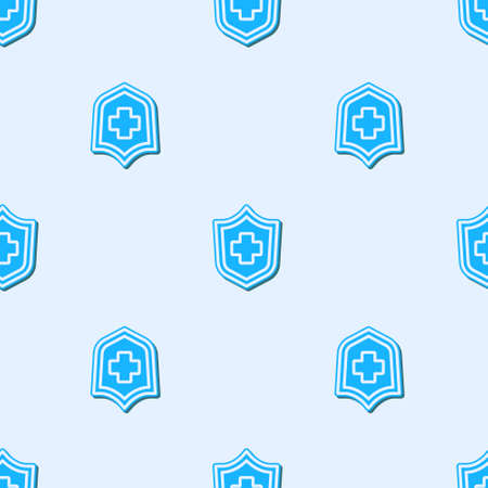 Blue line Health insurance icon isolated seamless pattern on grey background. Patient protection. Security, safety, protection, protect concept. Vector.