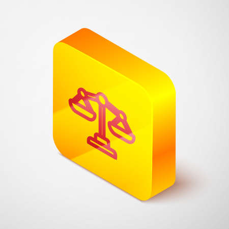Isometric line Scales of justice icon isolated on grey background. Court of law symbol. Balance scale sign. Yellow square button. Vector. Vectores